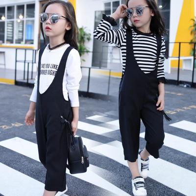 童套装 2017春季新款韩版女童中大童时尚阔腿裤两件套