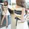 恩黛 2017新款时尚女裙条纹雪纺高腰短裙两件套装无袖连衣裙 Q047F6865