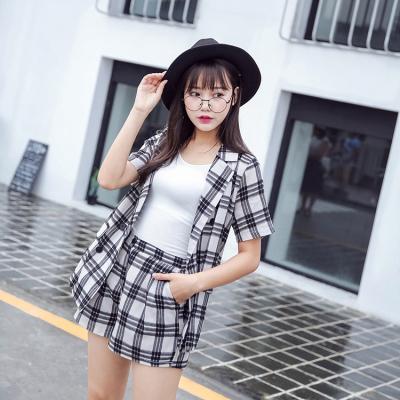 蓝莓家  女装韩版潮流夏2017时尚宽松大码格子上衣短裤两件套    815#