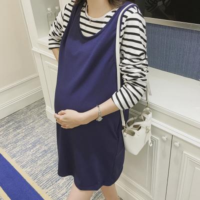 咪诺 2017新款孕妇装春秋韩版纯棉俩件套条纹大码长袖孕   7021