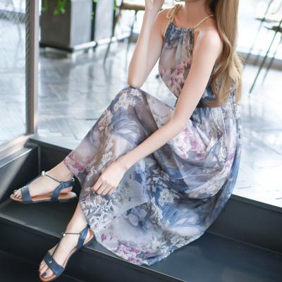 恩黛2017夏新款旅游沙滩裙无袖一字领气质长裙波西米亚雪纺连衣裙Q047F6875