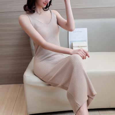 蓝莓家  2017夏款v领无袖中长款针织修身显瘦包臀吊带连衣裙背心裙  4171