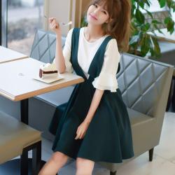 恩黛2017夏新款女装韩国V领背带连衣裙修身显瘦潮Q047F6879