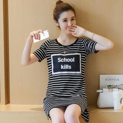 素裁 春夏新款蕾丝衫中长款条纹短袖T恤 5283