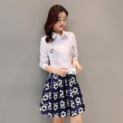 布桂坊2017春季新款韩版时尚重工刺绣长袖衬衣印花A字短裙两件套时尚套装裙