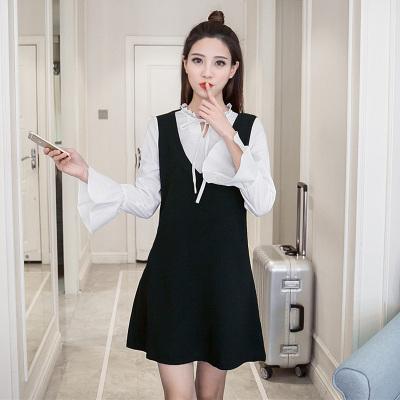 蓝莓家  2017春装韩版女装新款假两件显瘦长袖短款连衣裙  0809