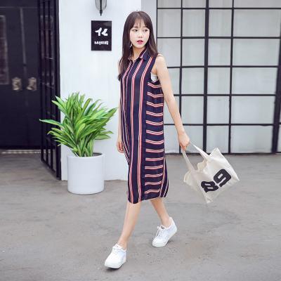 蓝莓家 2017新款条纹衬衫裙 连衣裙无袖POLO领中长裙   806