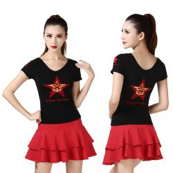 """新款军迷水兵舞<span class=""""gcolor"""">T恤</span>女士黑色前后V新款领五角星莫代尔<span class=""""gcolor"""">短袖</span>演出服"""