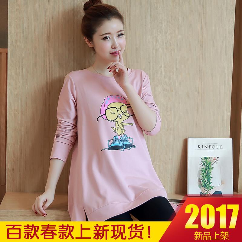 咪诺  2017春季新款孕妇长袖T恤中...