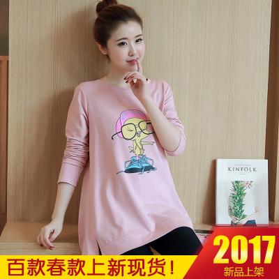 咪诺  2017春季新款孕妇长袖T恤中长款纯棉体恤上衣卫衣孕妇装   8063