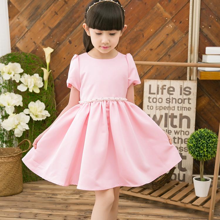 夏季新款童裙女童韩版腰带珍珠短袖...