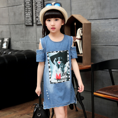 韩版童装女童连衣裙夏季新中大女孩卡通牛仔裙漏肩夏装