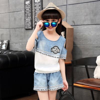 童装女童夏装2016新款夏季儿童运动牛仔套装韩版女大童短袖女孩潮
