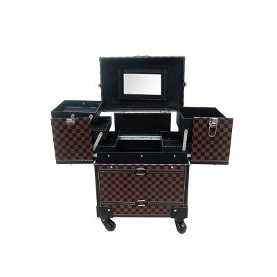 高级多层多功能大容量美容美发美甲纹绣带镜子万象轮拉杆化妆箱