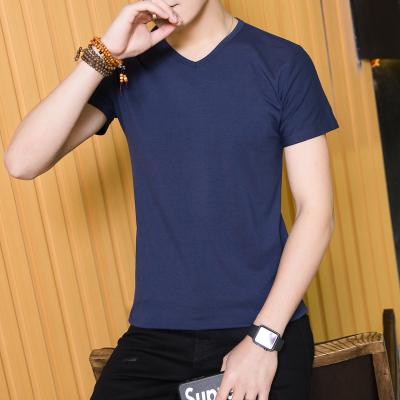 德昇 男士短袖t恤v领2017新款夏季修身纯色体恤潮流上衣服简约百搭 TC023