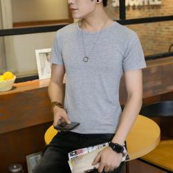 德昇 2017夏季新款男士短袖韩版上衣修身圆领男T恤纯色简约半袖打底衫Tc024