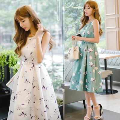 恩黛 2017夏季新款女装 韩版潮流收腰印花无袖连衣裙 Q047F6702