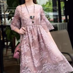 欧衣尚 2017春夏高端定制精品气质印花雪纺连衣裙