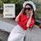 蓝莓家 2017春夏新款女装V领蝴蝶结上衣+小星星花边蕾丝长裙套装 3051