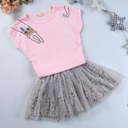 """优优小鱼 新款女童上衣短裙<span class=""""gcolor"""">两件套</span> KM8002"""