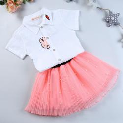 """优优小鱼 新款女童上衣短裙<span class=""""gcolor"""">两件套</span> KM8007"""