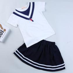 """优优小鱼 新款女童上衣短裙<span class=""""gcolor"""">两件套</span> KM8011"""