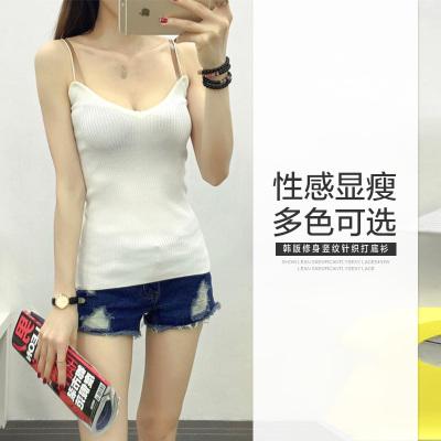 素裁 2017年夏装新品韩版修身竖纹针织打底衫性感显瘦简约细吊带 5811