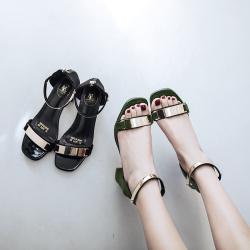 2017夏季新款欧美风凉鞋百搭一字扣粗跟中跟罗马女士凉鞋 789-6