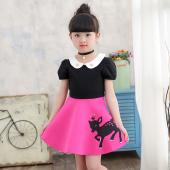傲娃 2017新款夏季小鹿图案连衣裙童装女童裙子小鹿两色