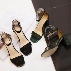 2017夏季新款欧美风凉鞋百搭一字扣粗跟中跟罗马女士凉鞋 789-7