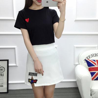 女人志 2017年夏季新款套装 纯棉红心T恤+韩版修身裙子 套装 8804