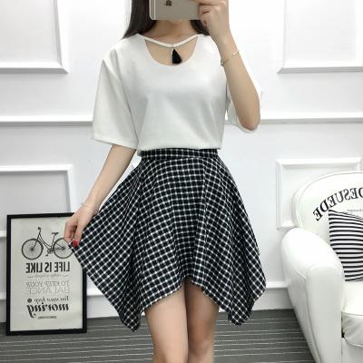 女人志 2017年夏季新款套装 韩版上衣+格子不规则裙子 套装 8805