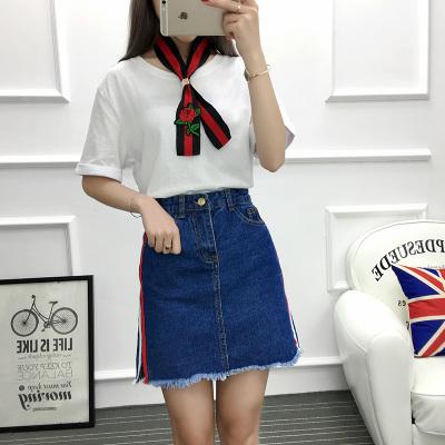 女人志 2017年夏季新款套装 白色上衣配围脖+牛仔裙 套装 8806