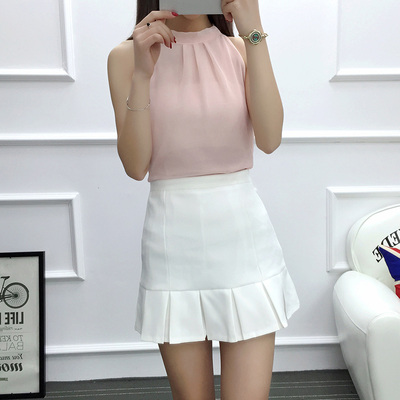 女人志 2017年夏季新款套装 无袖雪纺上衣+压折糖果色短裙 套装 8809