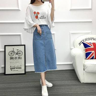 女人志 2017年夏季新款 印花韩版上衣+牛仔长裙 套装 8810