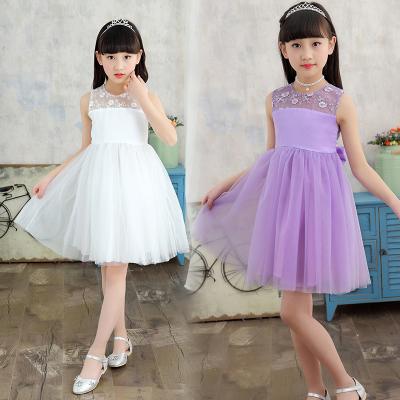傲娃 2017新款夏季童装三色新品上新纯色公主裙白色连衣裙 紫色连衣裙藕粉色连衣裙