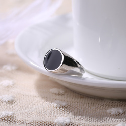 S925银戒指简约大气泰银滴油圆形戒指 欧美大气滴油达蒙个性指环