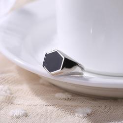 S925银戒指简约大气泰银滴油戒指六角 欧美大气滴油达蒙个性指环