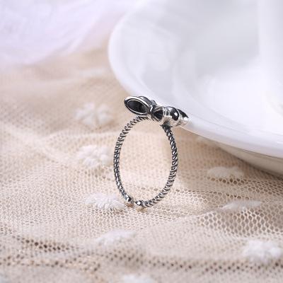 S925纯银甜美日韩时尚蝴蝶结开口戒指 送女友礼物