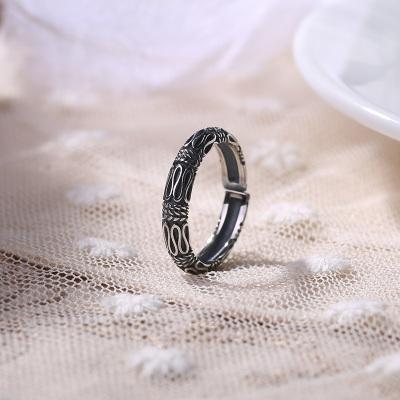 S925纯银泰国进口复古纹简约戒指开口女戒