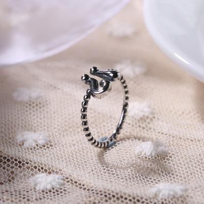 日韩S925纯银符号简约时尚复古开口戒指女