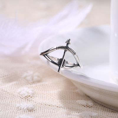 韩国韩版S925纯银素面仿古泰银爱神之箭开口戒指女戒