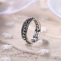 S925纯银时尚简约女戒指圆珠镂空开口戒