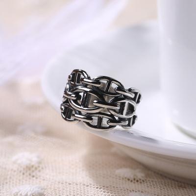 S925纯银2017新款女士时尚环扣形状多层925银戒指男女