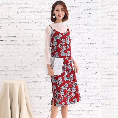 壹和叁 2017新款春百搭吊带韩版复古花两件套吊带裙 YHS#Q1703