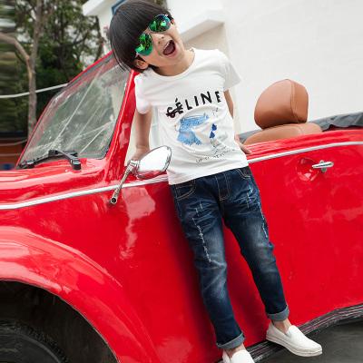 健博贝儿 2017童装男童夏装套装新款韩版儿童夏季牛仔两件套TZ0822