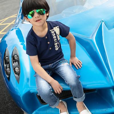 健博贝儿 2017童装男童夏装套装新款韩版儿童夏季牛仔两件套TZ1309