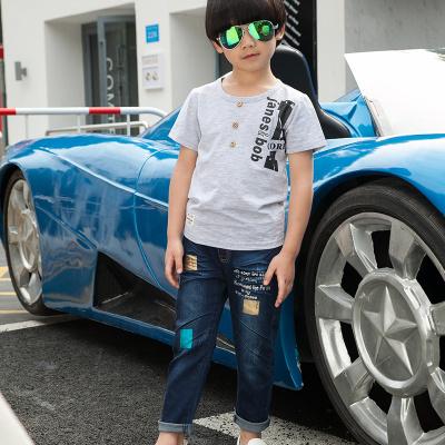 健博贝儿 2018童装男童夏装套装新款韩版儿童夏季牛仔两件套TZ1318