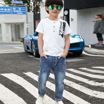 健博贝儿 2017童装男童夏装套装新款韩版儿童夏季牛仔两件套TZ1317