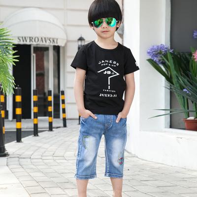 健博贝儿 2018童装男童夏装套装新款韩版儿童夏季牛仔两件套TZ1402